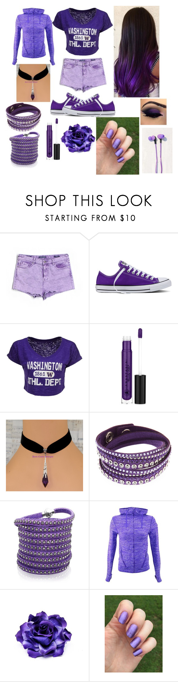 """""""Purple outfit"""" by youtubernerd106 ❤ liked on Polyvore featuring Vigoss, Converse, Blue 84, Anastasia Beverly Hills, Swarovski, Sif Jakobs Jewellery and Urban Outfitters"""
