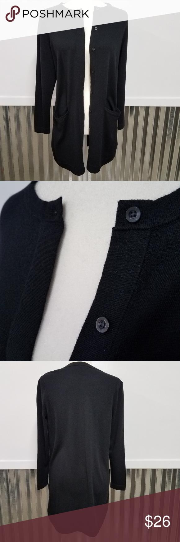 J. Jill Long Black Button Up Sweater Wool Cardigan   Wool cardigan ...