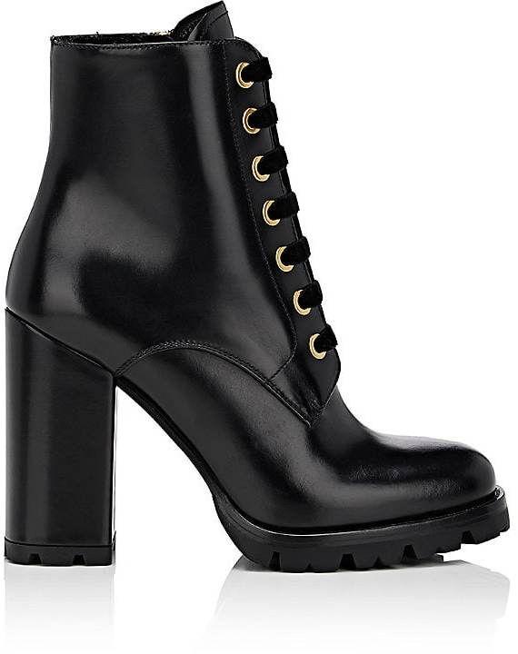 f5059027de09 Prada Women s Leather Lace-Up Ankle Boots