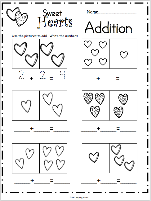 Sweet Heart Addition Worksheet Made By Teachers Kindergarten Addition Worksheets Valentine Math Kindergarten Math Addition Worksheets