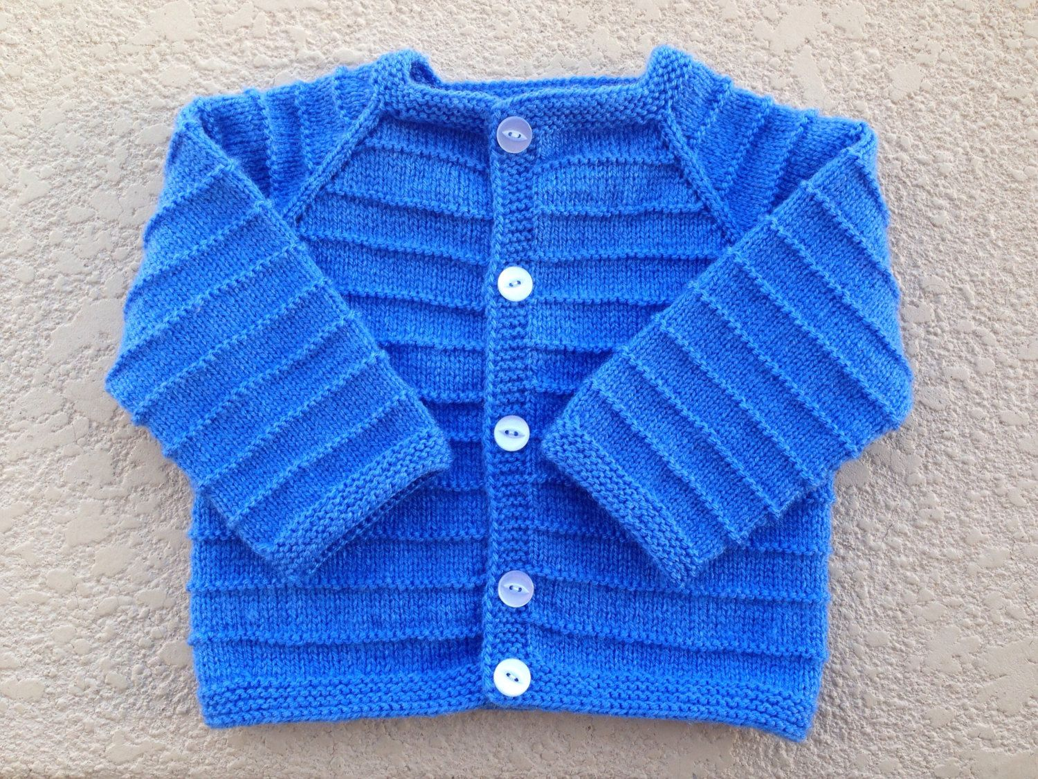 Hand knitted baby boy or girl cardigan sweater months old blue