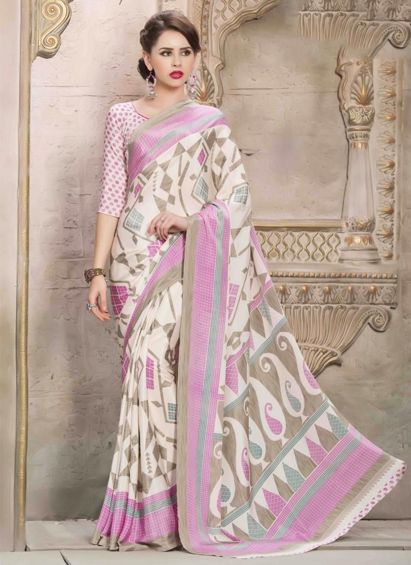Unique Crepe Silk Multi Colour Print Work Casual Saree