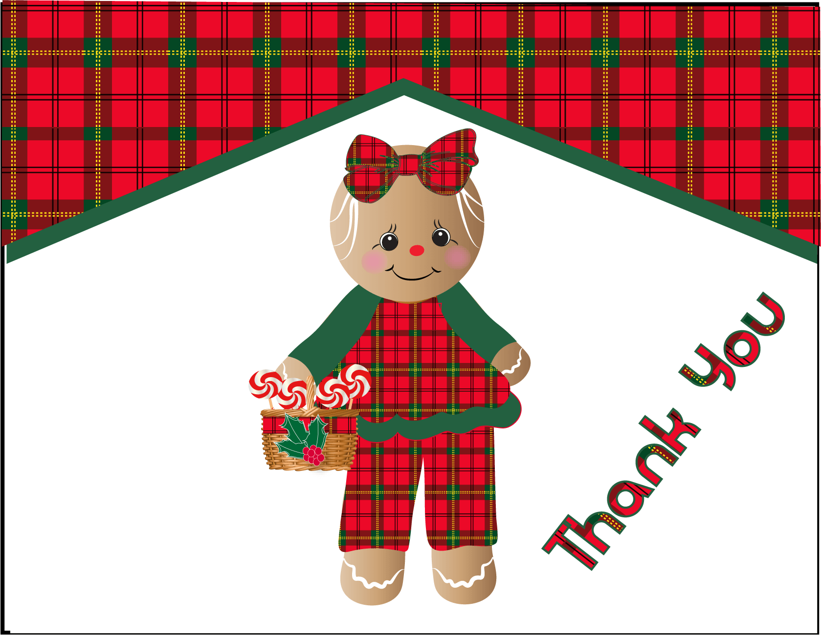 Cute Gingerbread Girl Plaid Christmas Thank You Note Ctkn228