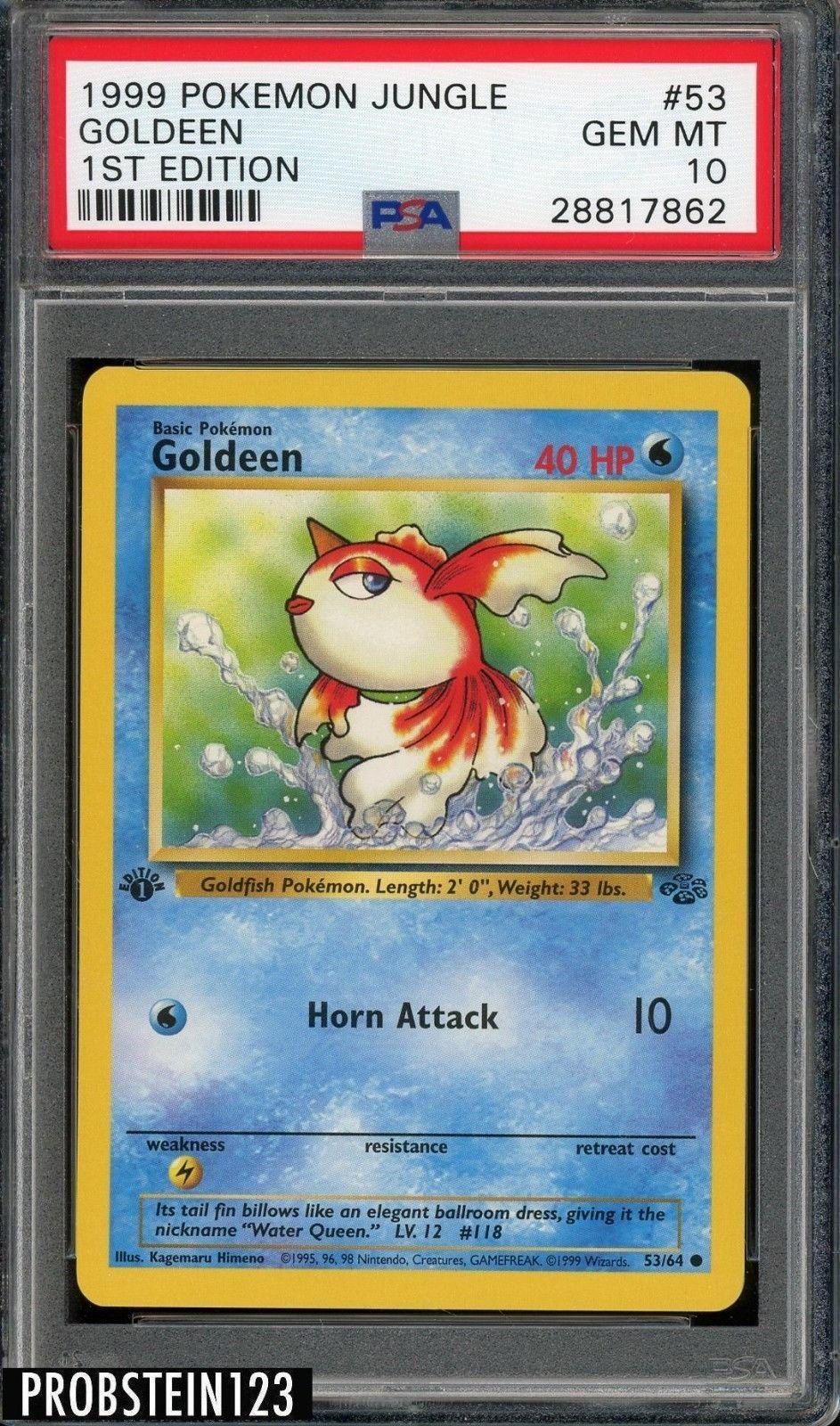 1999 pokemon jungle 1st edition 53 goldeen psa 10 gem