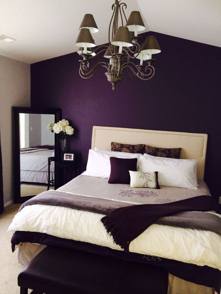 Latest Romantic Bedroom Ideas To Make The Love Happen - Bedroom for couples with dark purple color schemes with purple carpet
