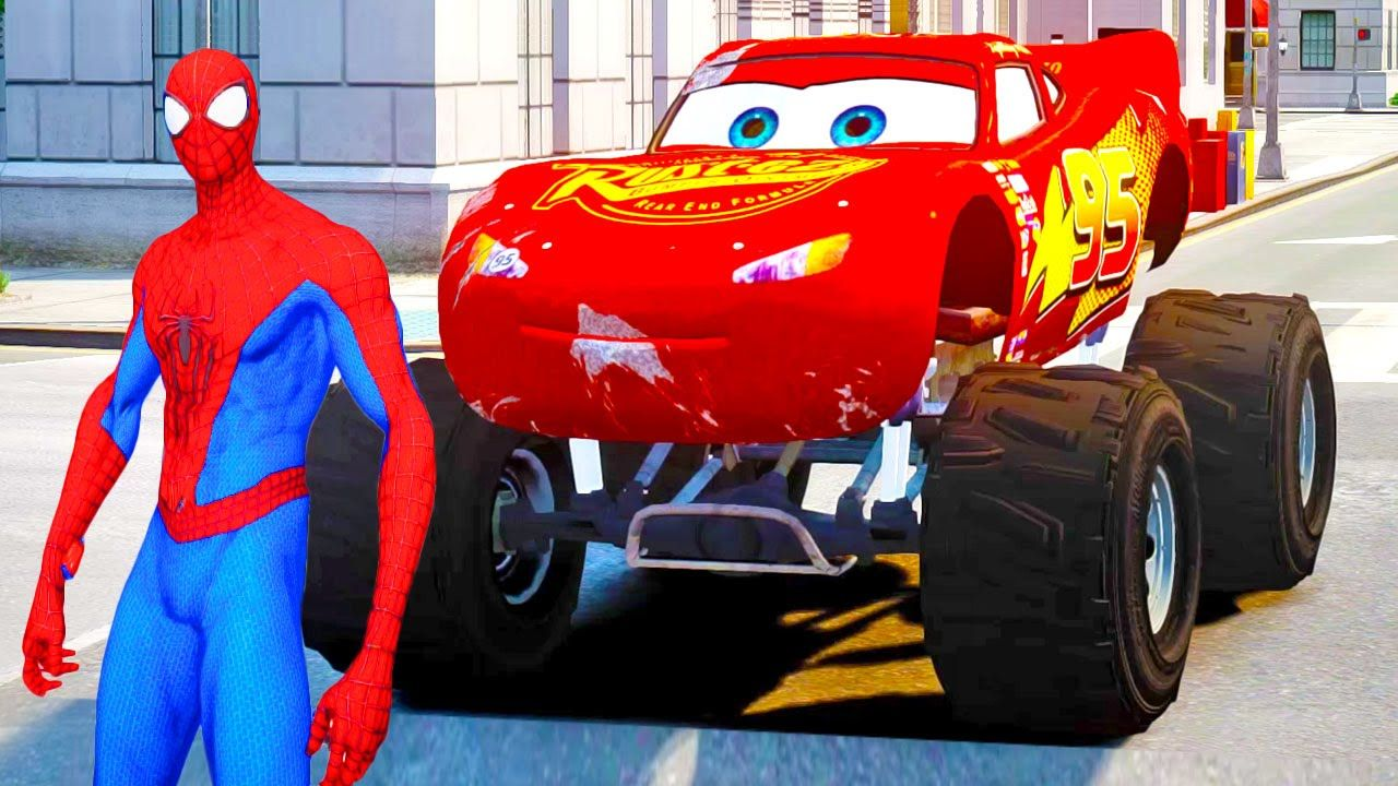 Monster Truck Lightning Mcqueen With Spiderman In Cars Cartoon Spray Sport Son