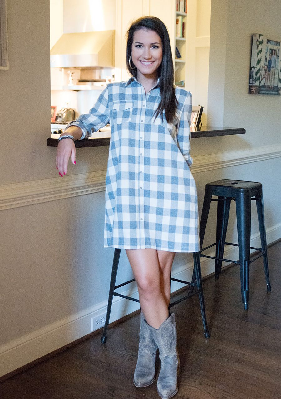 Flannel dress for women  Grey Checkered Flannel Dress at Hip Chics Boutique  Dress to