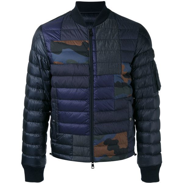 Moncler camouflage-patch zip frontquilted jacket ($1,100) ❤ liked on Polyvore featuring men's
