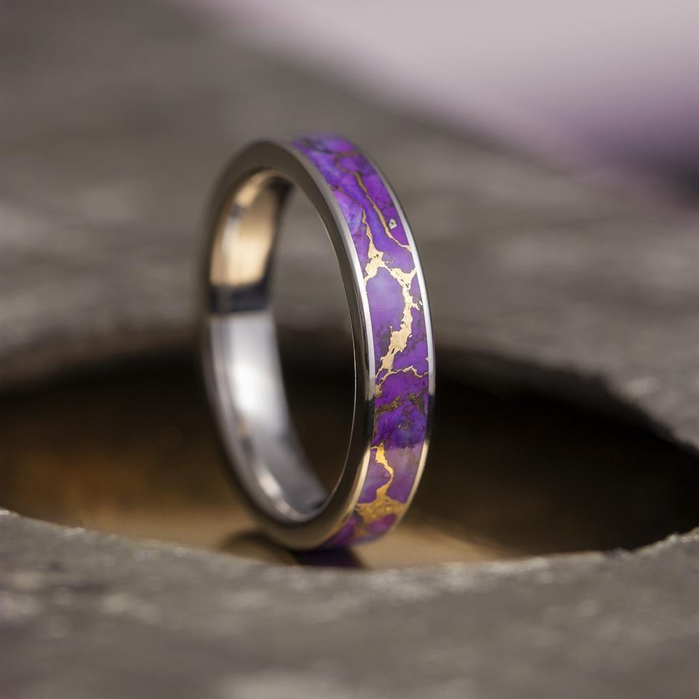 Lava Turquoise Ring Purple Turquoise Wedding Band In Titanium