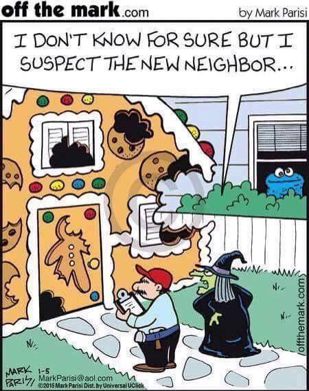 Witch vs Cookie Monster #Muppets Non lo so con certezza, ma io sospetto del nuovo vicino...