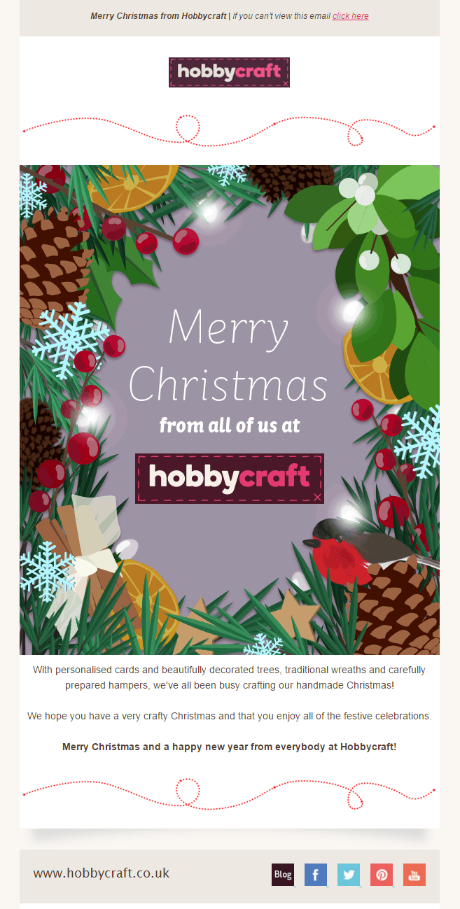 merry christmas email from hobbycraft emailmarketing email marketing hobbies art - Merry Christmas Email