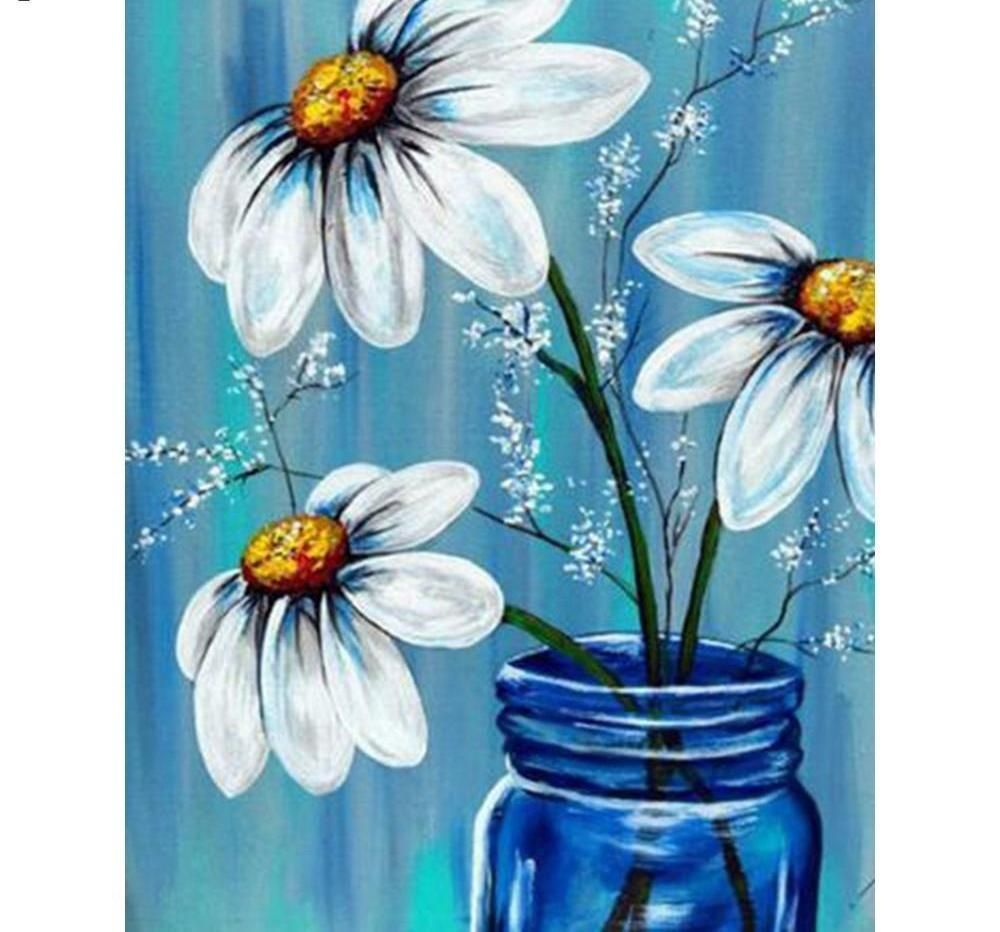 5d Diamond Painting Daisy In Vase Daisy Painting Spring