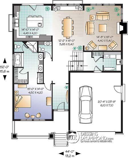 Détail du plan de Maison unifamiliale W3441 Floor Plans - image de plan de maison