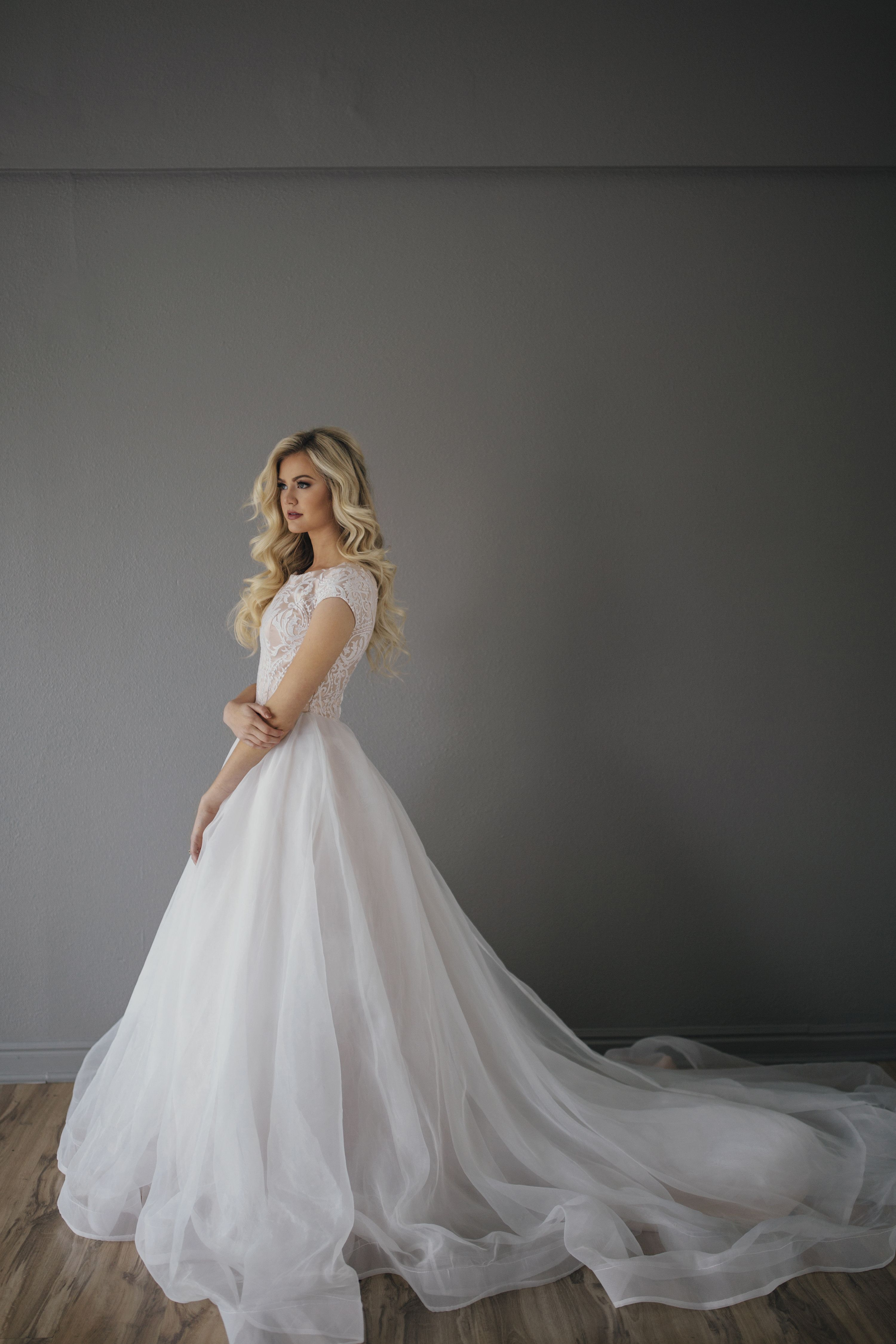 Holly Gown By Elizabeth Cooper Design Photo By Cassandra Farley Photography Modest Weddin Affordable Wedding Gown Wedding Dresses Lace Winter Wedding Dress