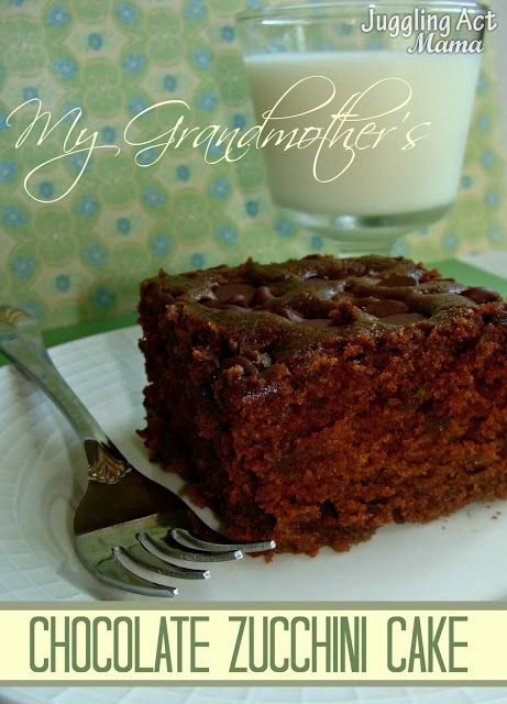 Mt Grandmother's Chocolate Zucchini Cake from Juggling Act Mama