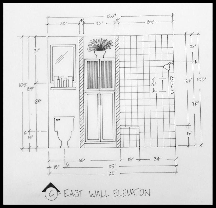 The Kitchen Sink Art Drawing Sketch Sketchbook By: EAST WALL BATHROOM ELEVATION