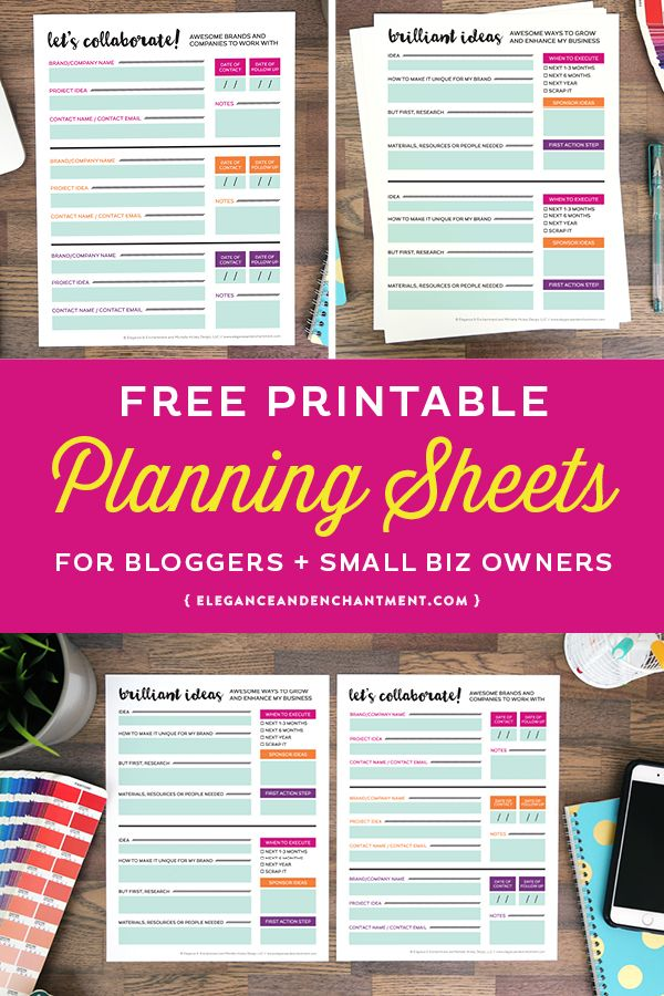 Free Printable Planning Sheets for bloggers and small business - free printable business plan