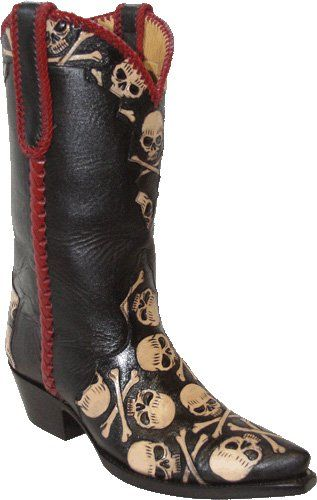 Star Boots Womens Hand Tooled Skull and Crossbones Boots