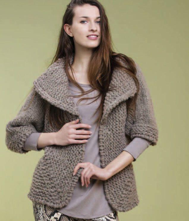 Hermoso Jacket Free Knitting Pattern. Large bulky yarn cardigan with ...