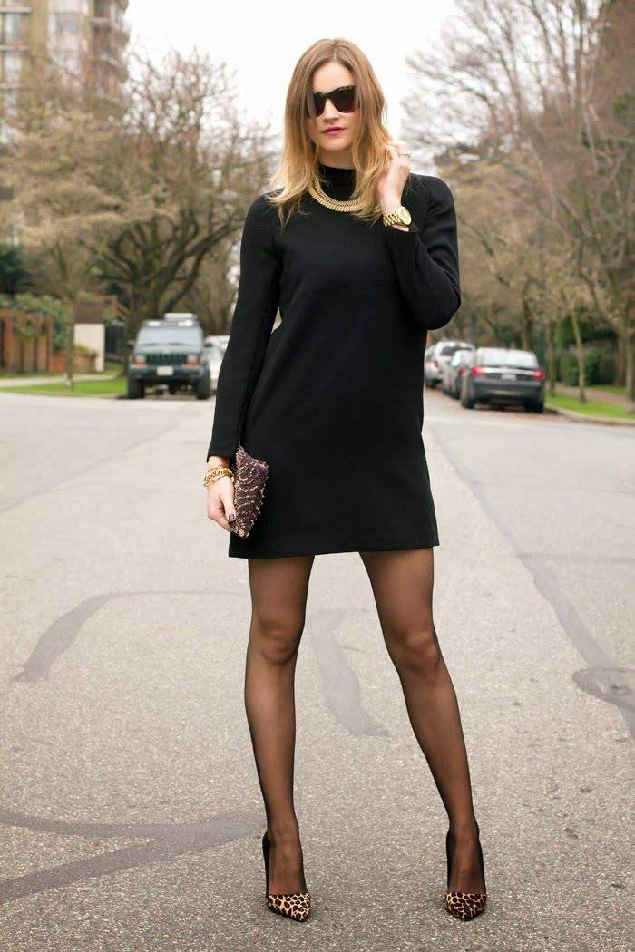 Styling My Life Wears A Black Mini Dress, Sheer Tights, And Printed -3217