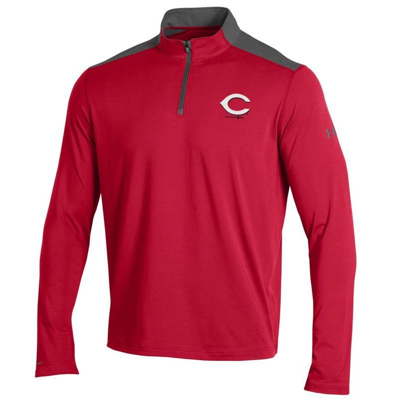 Cincinnati Reds Under Armour Charged Cotton Quarter-Zip Pullover Jacket - Red