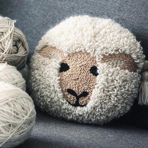 Sheep embroider pillow case Alpaca embroidery decor Llama pillow Soft deco linen pillow case