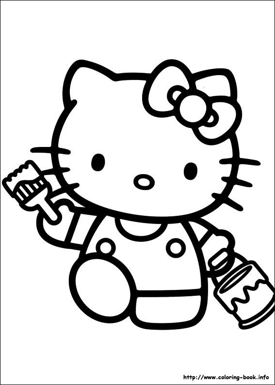 coloring pages hello kitty summer clothes | Hello Kitty coloring picture | Hello Kitty Coloring Pages ...
