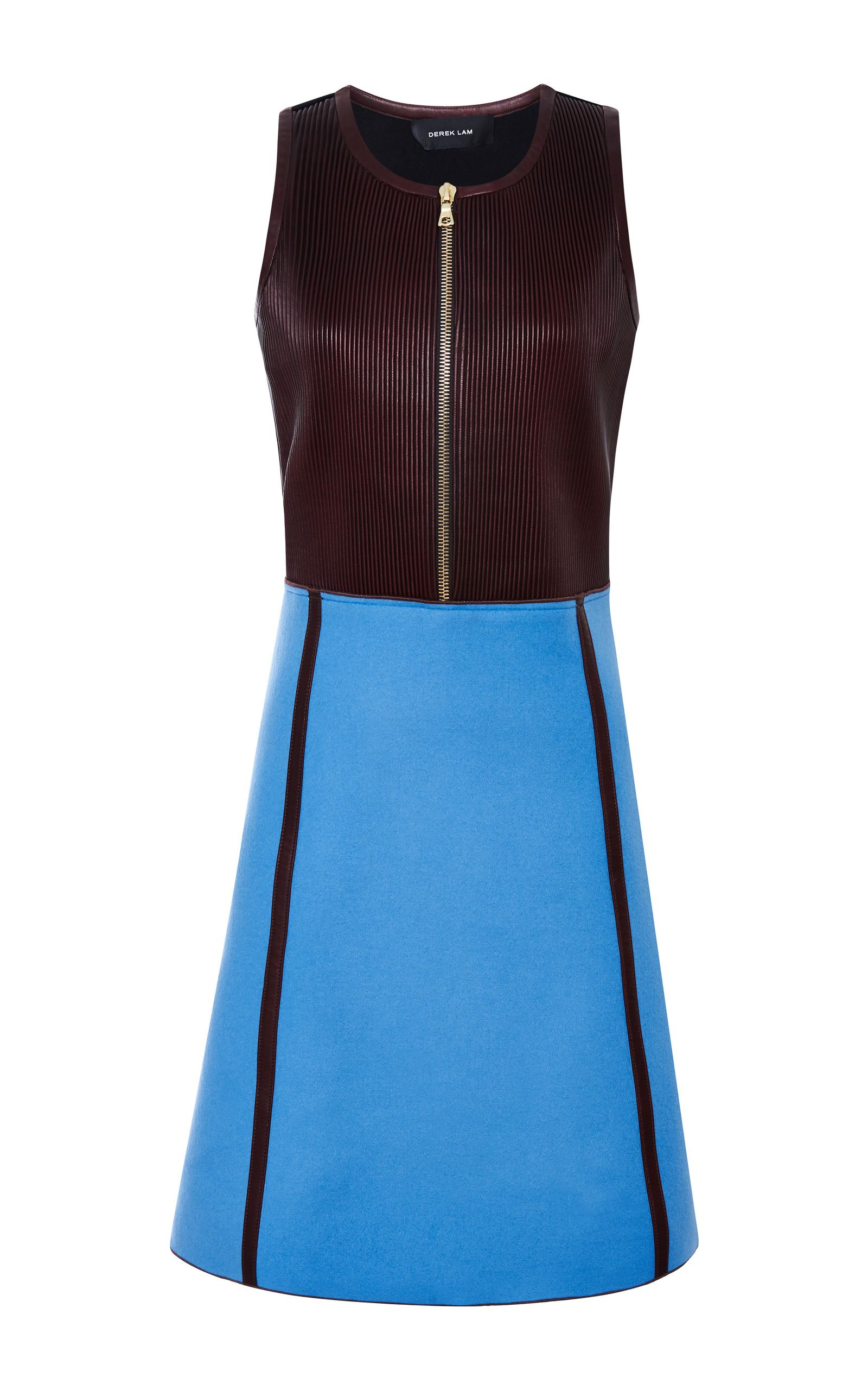 Pleated Leather Combo Dress by DEREK LAM Now Available on Moda Operandi