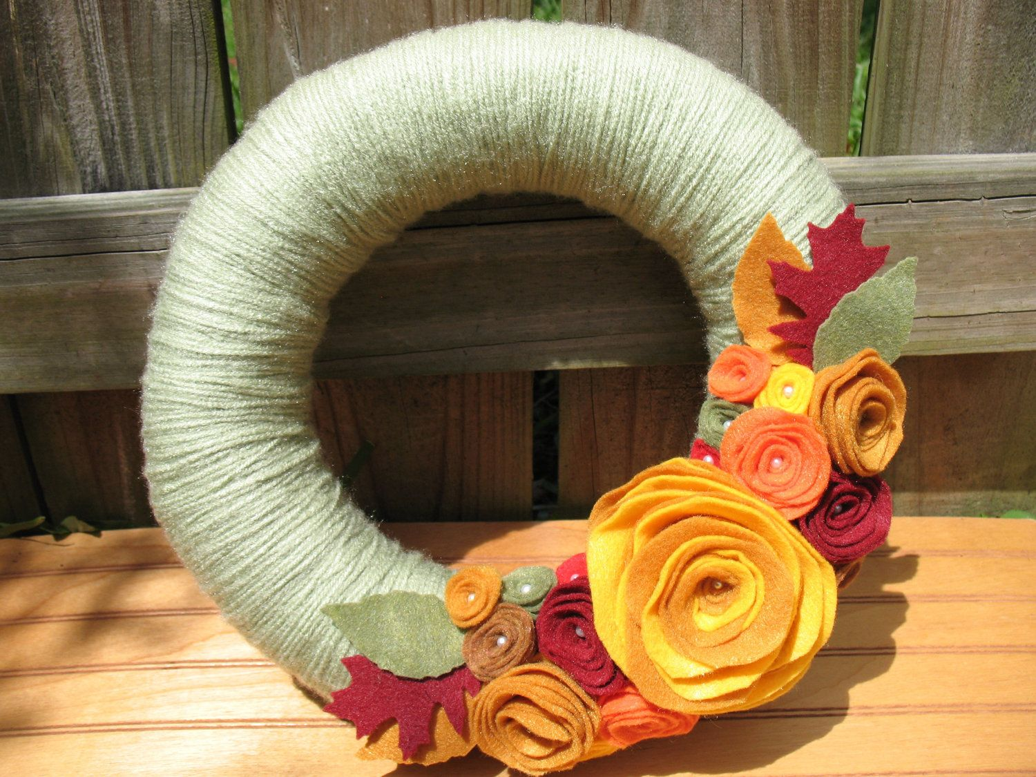 Fall Garden Wreath- Fall Wreath--Fall Decor-Autumn Decor-Thanksgiving Wreath-- Green Yarn and Felt Flower Pearl Wreath.