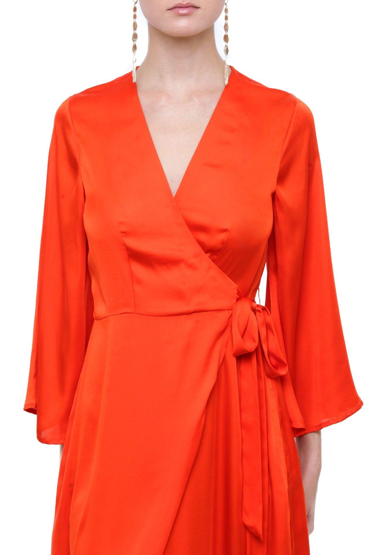 cb4819297df Orange Silk Maxi Wrap Dress