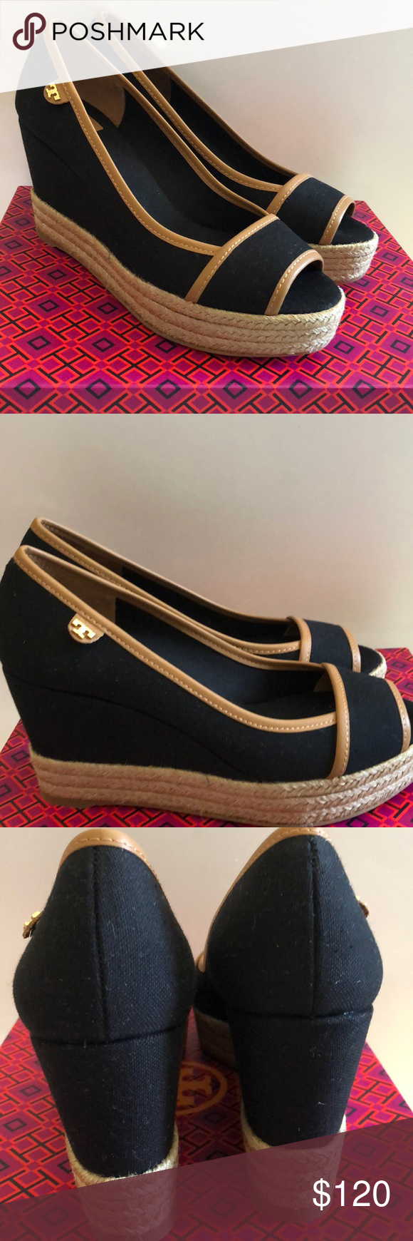 f298d73f145df2 Tory Burch Majorca logo wedge black tan Tory Burch Majorca logo wedge black  tan Tory Burch Shoes Wedges