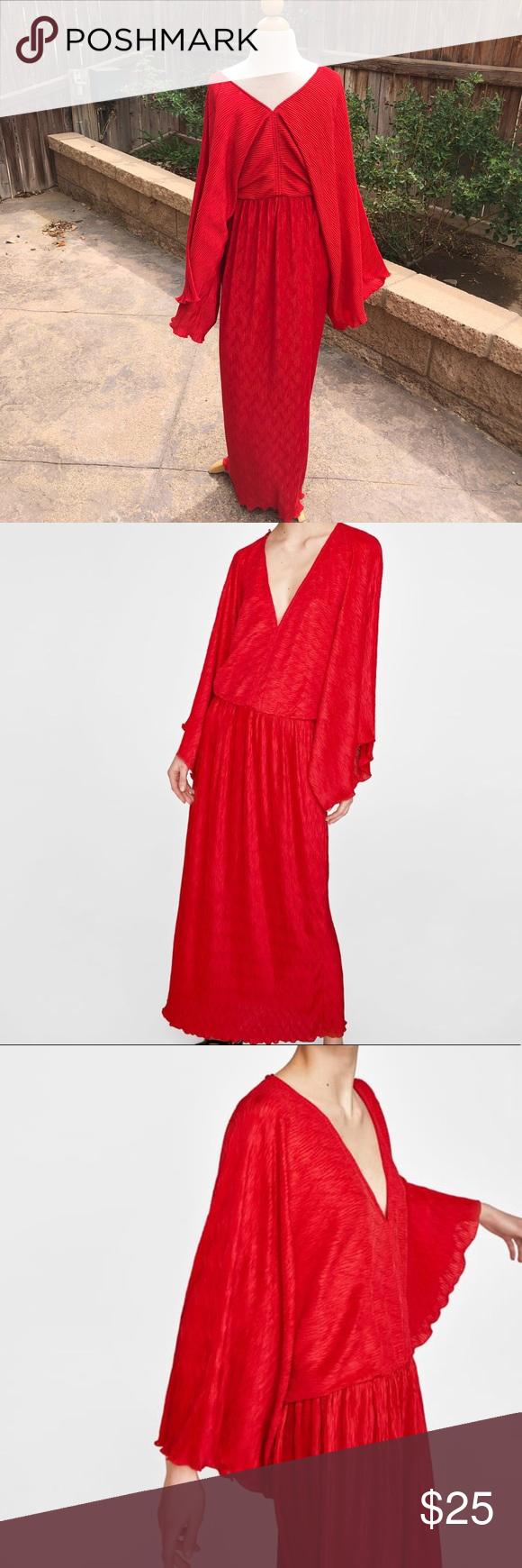 Nwot zara red kimono inspired dress pinterest zara dresses