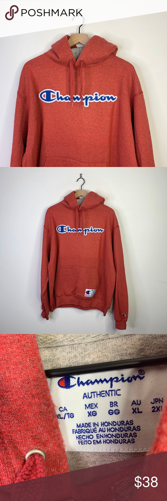 Champion 2000s Heathered Red Spellout Hoodie XL Older