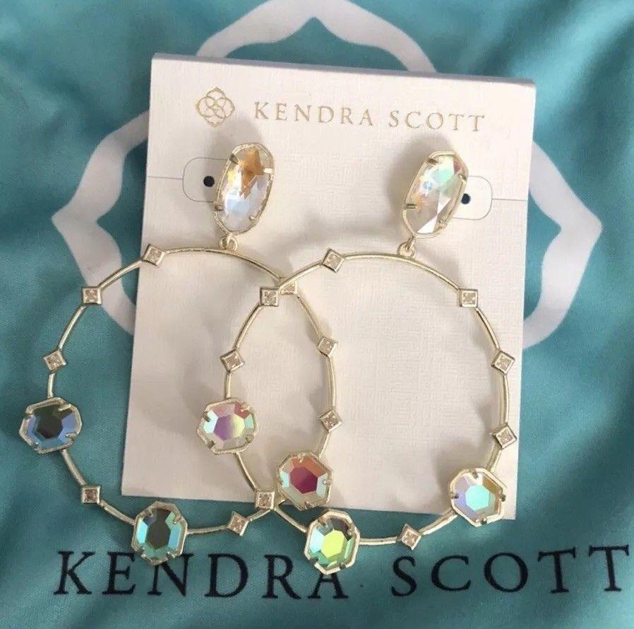 05c9bc0dd02c6 NWT Kendra Scott Sheila Large Hoop Gold Hoop Earrings in Dichroic ...