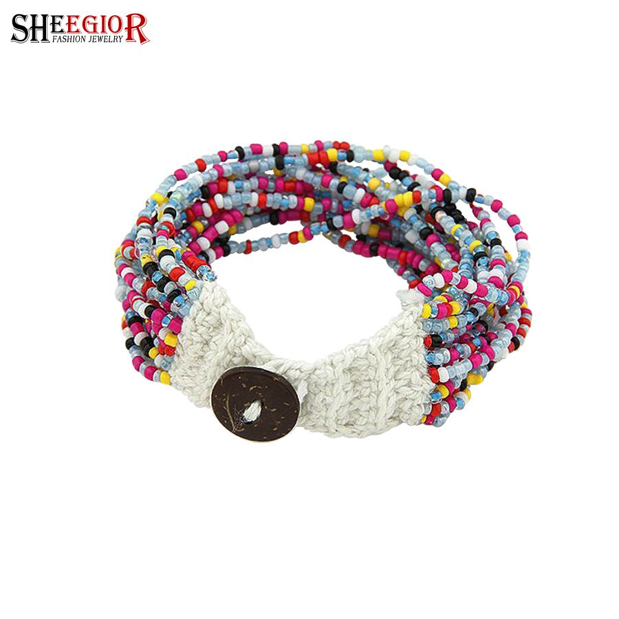 Sheegior bohemian charm bracelets u bangles for women love colour