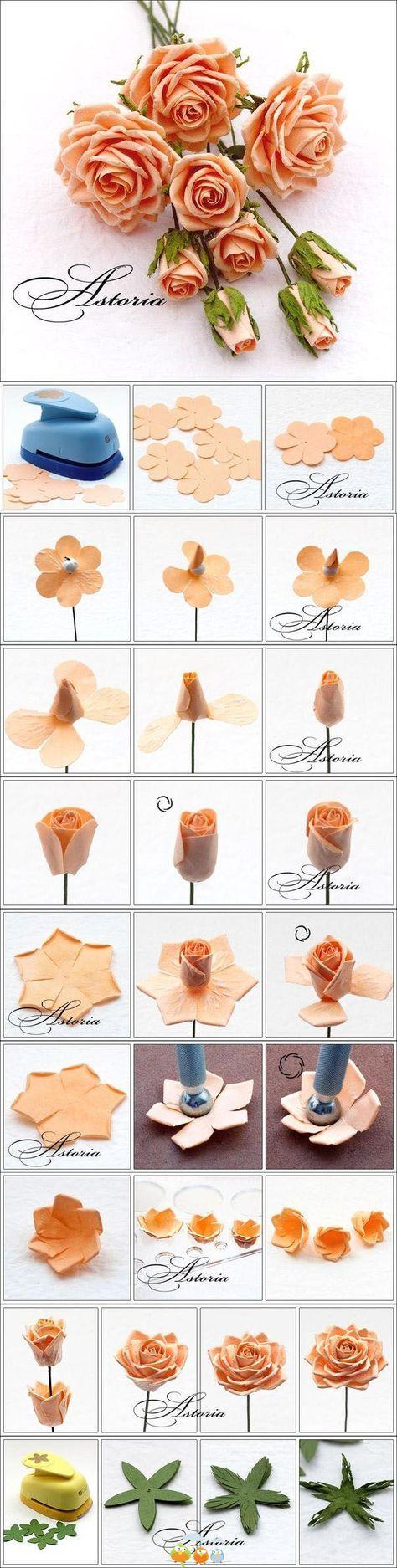 DIY Paper Flowers#roses# bouquet#crafts#home made#easy#idea#do it yourself#project #handmade#cool#gift#decor#wedding favour# +++LINDAS FLORES DE PAPEL ROSAS RAMO MANUALIDAD REGALO DECORACION