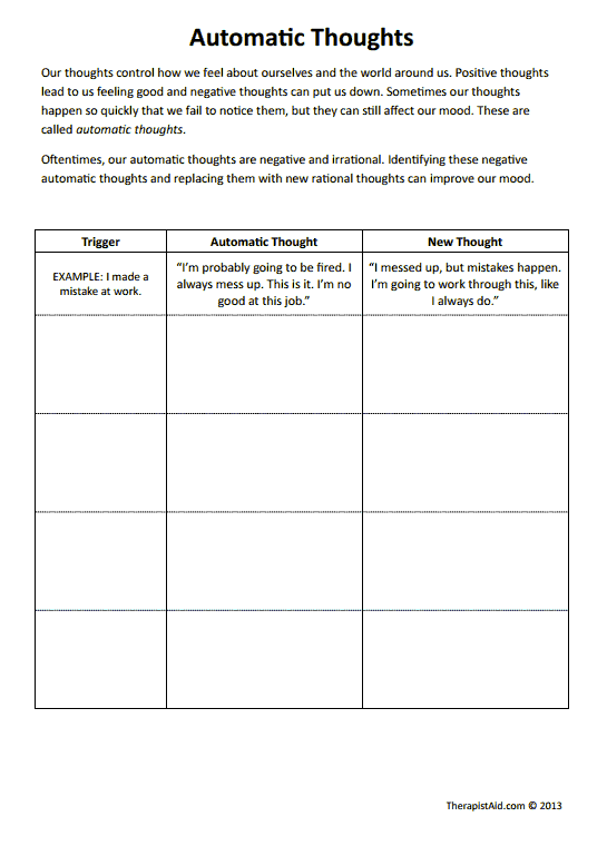 {CBT Worksheets Automatic Thoughts Preview Good for negative self – Irrational Thoughts Worksheet