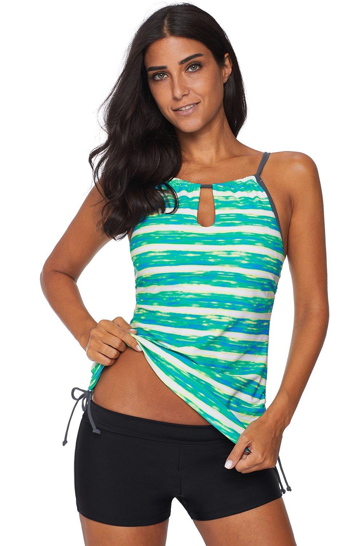 ee4030ce0a5 Green Print Tankini Swimwear in 2019 | Products | Tankini, Swimsuits