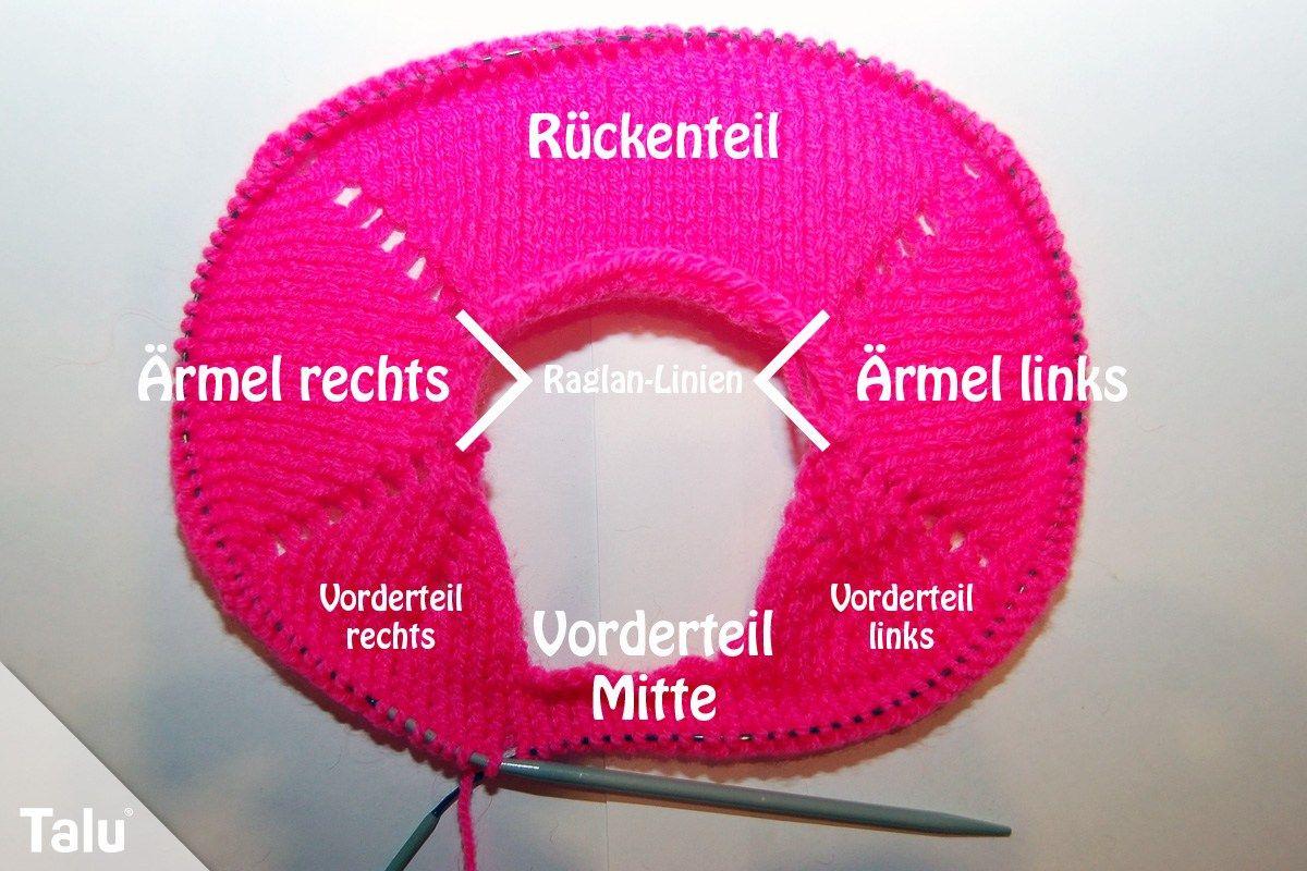 Raglan en tricot – instructions étape par étape pour les débutants – Talu.de   – Körper
