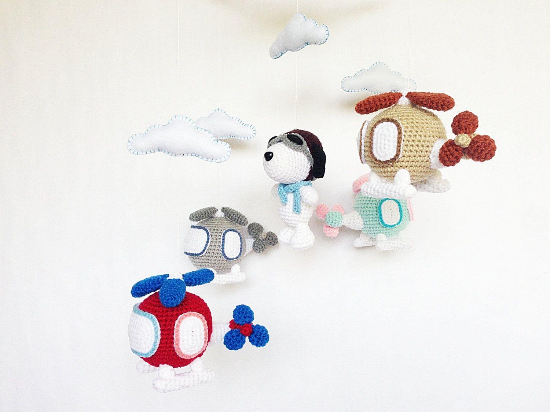 Amigurumi Tutorial Snoopy : Baby mobile captain snoopy & helicopter amigurumi baby crib mobile