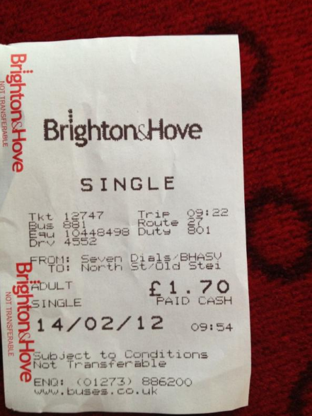 Brighton Hove Bus Ticket From 2012 Bus Tickets Brighton And Hove Brighton Uk