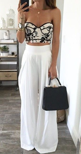 ad4a197ef458  street  style crop top  wachabuy. White wide pants outfit Summer ...
