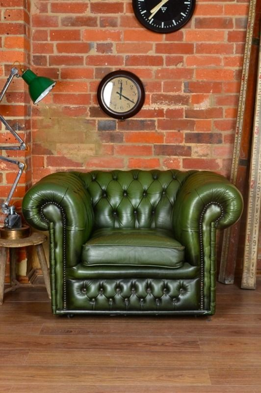 Chesterfield Club Chair U2014 Artifact Lighting There Is Something Lush About Green  Leather And The Right Lighting.