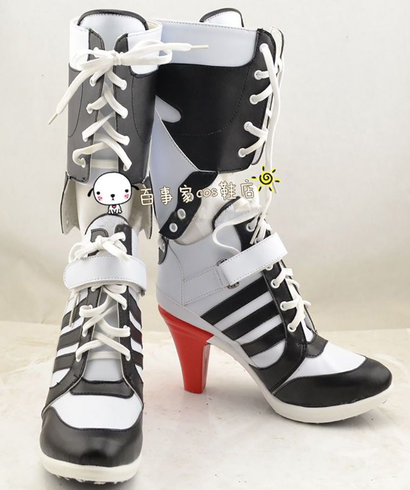 Batman Harley Quinn Cosplay Costume Outfit Suicide Squad Shoes Boots High  Heels
