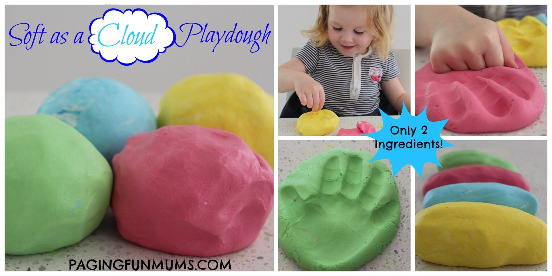 'Soft as a Cloud' Playdough…using only 2 ingredients! 1 part conditioner, 2 parts corn starch or corn flour. Food coloring optional