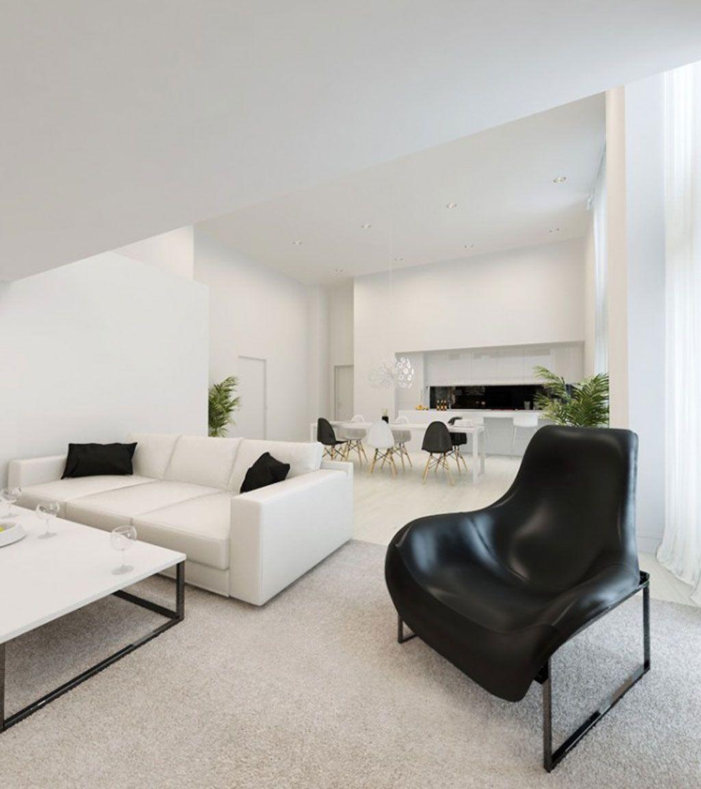 Nicemodernblackandwhitethemedlivingroomdecoratingideas Fair Minimalist Living Room Inspiration
