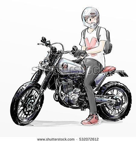 Cool Boy Riding Motorcycle With Images Motorcycle Drawing