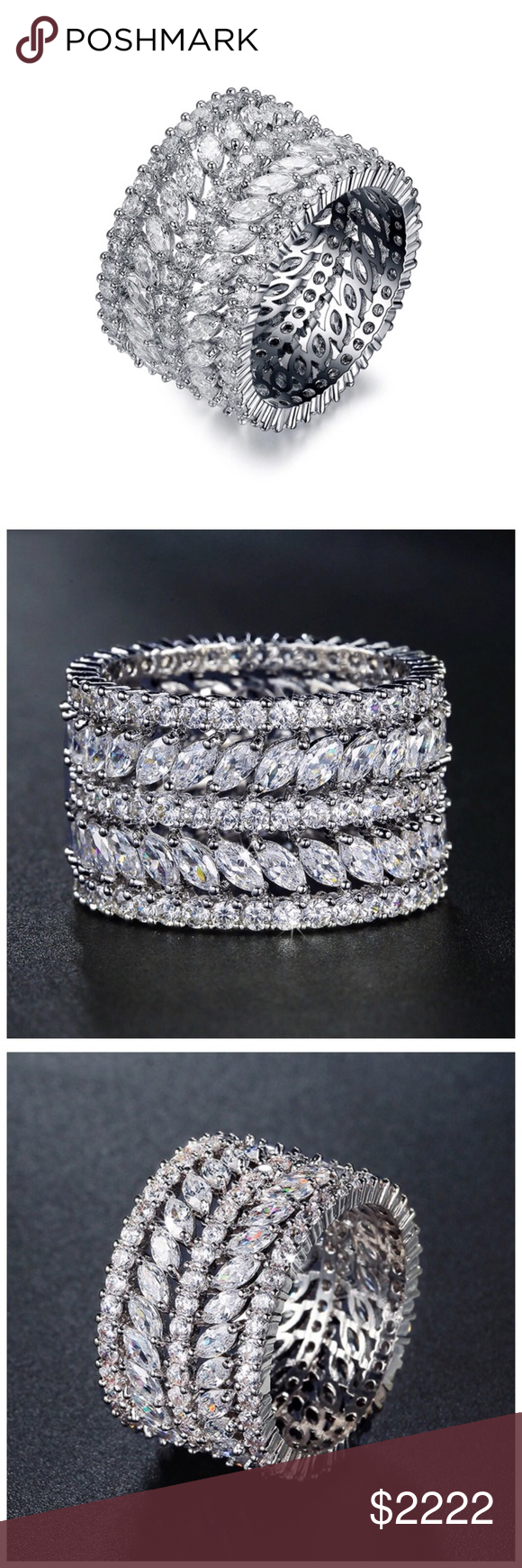 """🆕 Swarovski Crystals The Matrika Circle Ring ‼️ PRICE FIRM ‼️ 10% DISCOUNT ON 2 OR MORE ITEMS FROM MY CLOSET ‼️   Made Using Swarovski Crystals Retail $96  To say that this is a spectacular ring would be an understatement. Beautifully & skillfully handcrafted using the finest Swarovski crystals with a 14K white gold overlay. Band is approximately .4"""". Comes with a beautiful gift box. Jewelry Rings"""