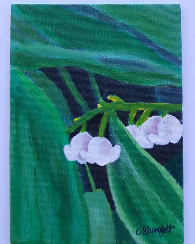 One of my original paintings. Lily of the valley in acrylic. 5x7 inches on canvas panel.