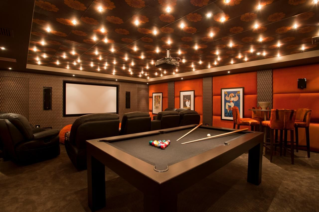Lighting Basement Washroom Stairs: Warm, Inviting Home Theater And Game Room. HGTV Ultimate